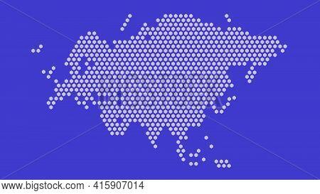 Purple Hexagonal Pixel Map Of Eurasia. Vector Illustration Eurasian Continent Hexagon Map Dotted Mos