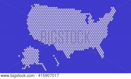 Purple Hexagonal Pixel Map Of Usa. Vector Illustration United States Hexagon Map Dotted Mosaic. Amer