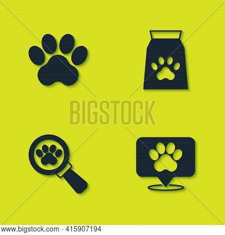 Set Paw Print, Location Veterinary Hospital, Veterinary Clinic And Bag Of Food For Pet Icon. Vector