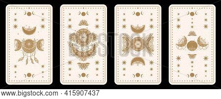 Mystical Tarot Desk Card.occult Esoteric Vintage Tarot Card.witch Fortune Telling Template Theme.