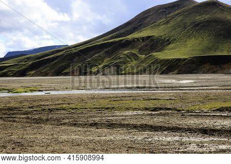 Landmannalaugar / Iceland - August 15, 2017: The Mountains Near Landmannalaugar Park, Iceland, Europ
