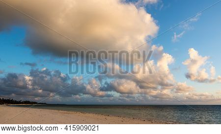Delightful Morning By The Ocean. Tropical Landscape. Gorgeous Sunrise Over The Ocean.