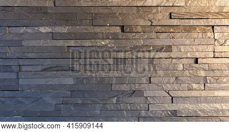 Black Marble Facing Tile. Background Or Texture Of Natural Stone.