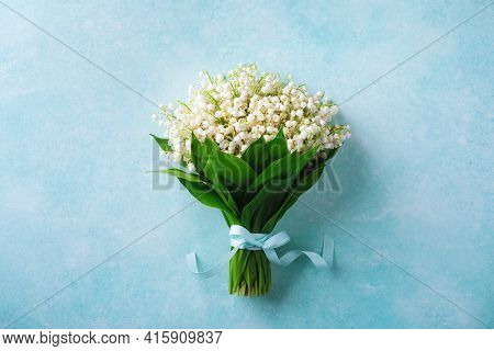 Beautiful Bouquet Of Spring Flowers Lily Of The Valley Top View. Mother Day Or Wedding Mockup Concep