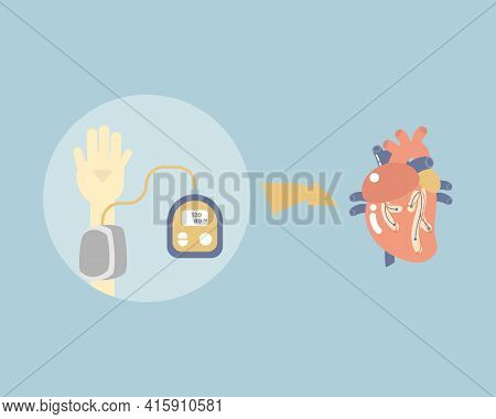 Measuring Blood Pressure And Heart Anatomy, Health Care, Medical Examination, Hypotension And Hypert