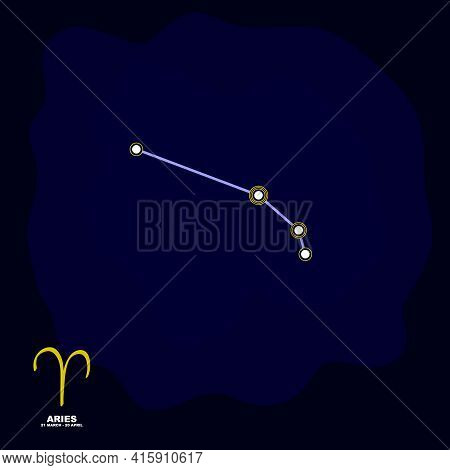 Vector Image With Aries Zodiac Sign And Constellation Of Aries For Your Project