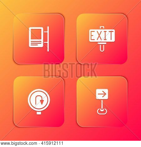 Set Road Traffic Sign, Fire Exit, Turn Back Road And Traffic Turn Right Icon. Vector