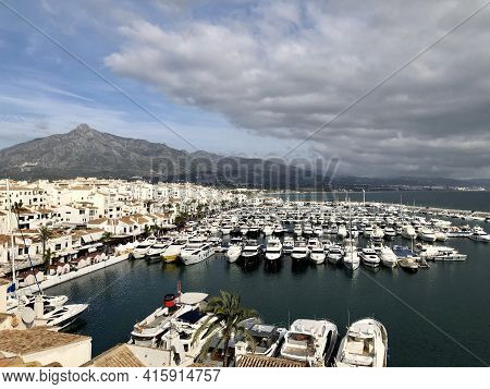 Puerto Banus, Spain - December 27, 2019: High View Of Yatches In Puerto Banus Marina