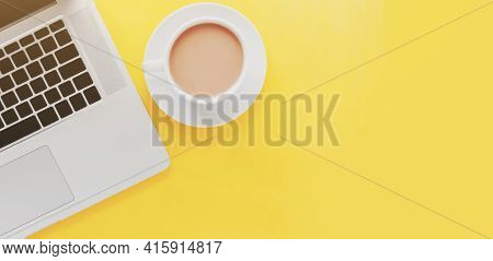 Horizontal Yellow Banner Notebook With Coffee Cup, Place For Text