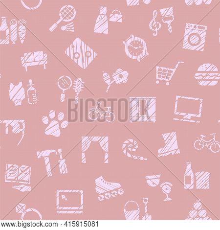 Shops, Seamless Pattern, Color, Hatching, Pink, Vector. Different Product Categories. Imitation Of P
