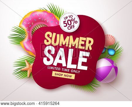 Summer Sale Vector Banner Design. Summer Sale Text In Red Blank Space For Tropical Season Offer In L