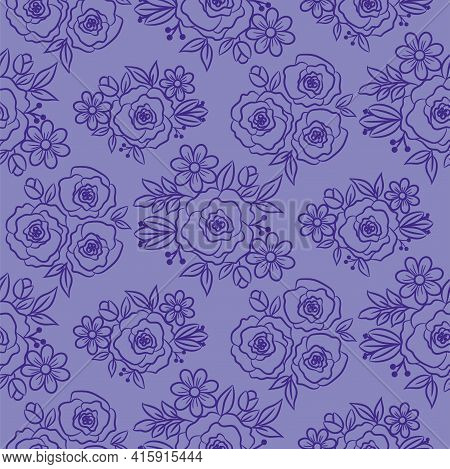 Hand Drawn Florals Peonies Outline Style.violet Purple Doodle Peony Flowers And Daisy Plants. Monoch
