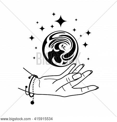 Magic Crystal Ball With Hand Isolated On White. Mystic Magician Symbol, Black Colors. Fortune Tellin