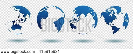 Set Of Globe 3d Geopolitical Extruded Isolated On White Background With Shadow And Blue Color