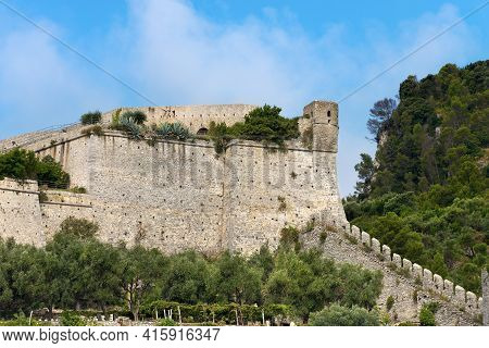 Doria Castle (1164-xix Century) Of Porto Venere Or Portovenere Town, Unesco World Heritage Site, Coa