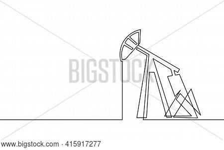 Single Continuous Line Art Oil Pump Station. Oil Gas Economy Industrial Concept. Petrol Transportati