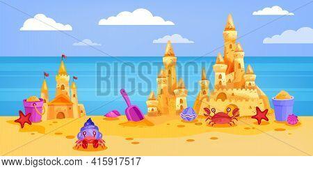 Sand Castle Summer Beach Vector Illustration, Cartoon Landscape, Sky, Clouds, Crab, Ocean, Bucket. V