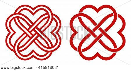 Celtic Knot Of Red Hearts In The Shape Of A Flower, Vector Knot Hearts Symbol Endless Love Mutual Un