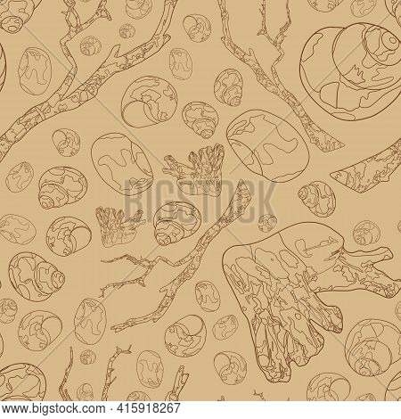 Seamless Pattern With Seashells And Snags. Marine Elements On A Beige Background. Marine Background.