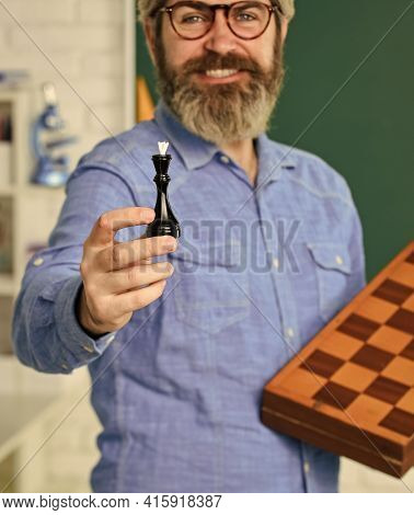 Iq Scores. Board Game. Man Playing Chess. Planning Strategy With Chess Figures. Strategy Ideas. Teac