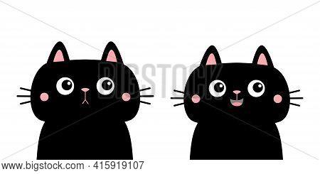Cat Set. Black Kitten Kitty Silhouette Icon. Cute Kawaii Cartoon Character. Sad Happy Face. Happy Va