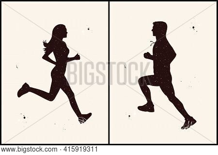 Jogging People. Runners Abstract Silhouettes Set. Night Starry Sky