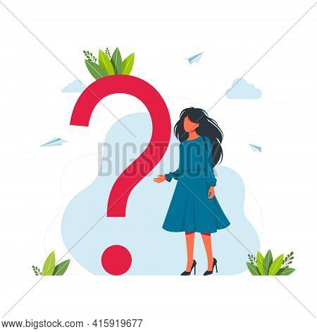 Vector Illustration Concept Of Frequently Asked Questions Of Question Marks, Metaphor Question Answe