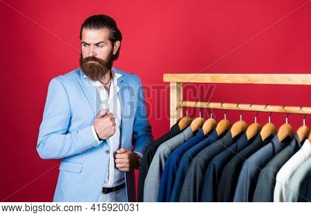 Bearded Man In Formalwear. Elegant Businessman Choose Elegant Apparel For Formal Event. Atelier Or W