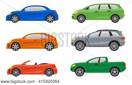 Set Of Different Cars Side View. Automobile Variations In Cartoon Style.