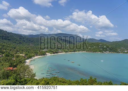 Beautiful Tropical Sand Beach And Blue Sea Water With Coconut Palm Tree In Paradise Island Koh Phang