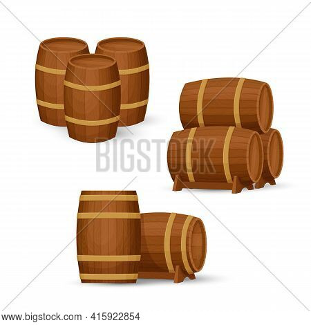 Collection Of Old Wooden Barrels In Different Configurations. Groups Of Two And Three Casks. Cartoon
