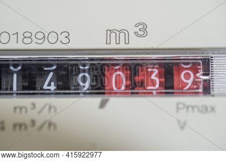 A Closeup View Of The Dial Or Face Of A Metric Gas Meter In Home, Ukraine