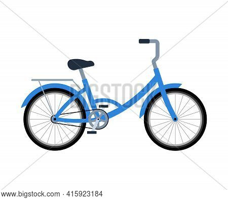 Bicycle With Luggage Rack. Delivery Bike. Vector Illustration In Flat Style On White Isolated Backgr