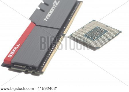 Moscow, Russia April 07,2021 High Performance Ddr4 Computer Memory Ram G.skill Trident Z Whit Cpu Co
