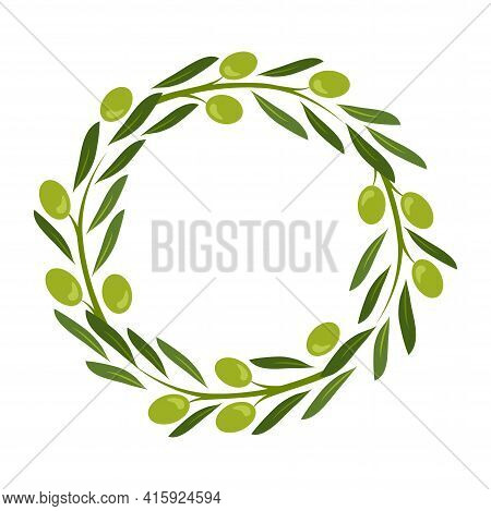 Olive Wreath Vector, Green Round Frame, Fruit And Leaf Border, Circle Plant Crown, Decorative Garlan