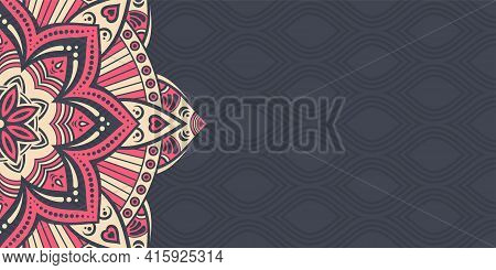 Horizontal Mandala Banner. Decorative Flower Mandala Background With Place For Text. Color Mandala O