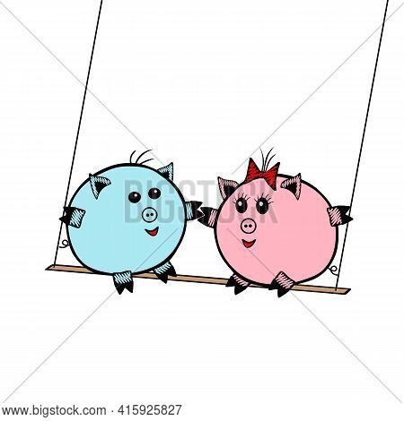 Pink Vector Piggy Fat Girl And A Blue Piggy Boy Swinging On A Swing Together On A White Background