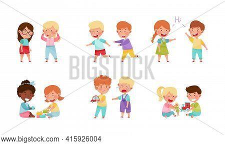 Friendly And Hostile Kids Playing Together Vector Illustrations Set
