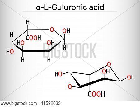 Guluronic Acid Molecule. Alginate Is Composed Of Mannuronic Acid And Guluronic Acid. Structural Chem