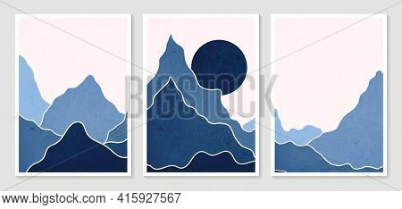 Collection Modern Minimalist Art Print. Abstract Mountain Contemporary Aesthetic Backgrounds Landsca