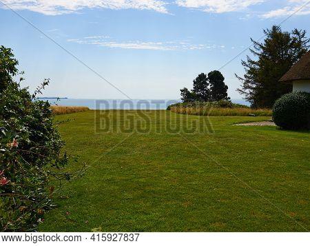 Typical Beautiful Natural Danish Coastline Beach Landscape In The Summer Fyn Funen Denmark