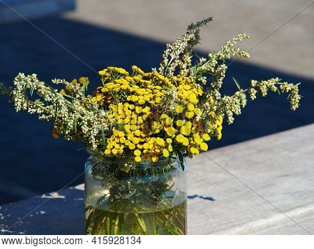 Beautiful Yellow Tansy (tanacetum Vulgare) Flowers In A Simple Glass Vase