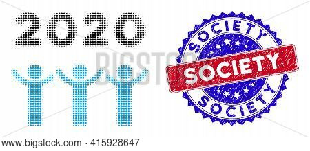 Dot Halftone 2020 Dancing People Icon, And Society Rubber Seal. Society Seal Uses Bicolor Rosette Fo