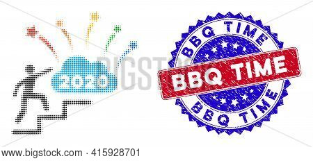 Dotted Halftone 2020 Fireworks Cloud Steps Icon, And Bbq Time Unclean Seal. Bbq Time Watermark Uses