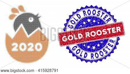 Pixelated Halftone 2020 Hatch Chick Icon, And Gold Rooster Unclean Watermark. Gold Rooster Stamp Sea