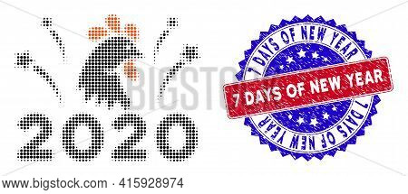 Dot Halftone 2020 Rooster Fireworks Icon, And 7 Days Of New Year Textured Stamp Seal. 7 Days Of New