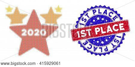 Dot Halftone 2020 Stars Hit Parade Icon, And 1st Place Rough Stamp Seal. 1st Place Stamp Uses Bicolo