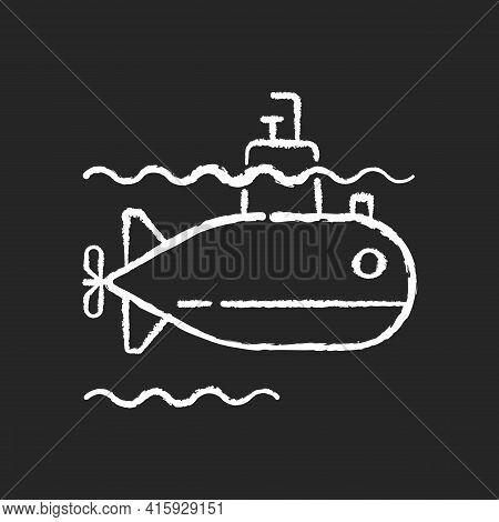 Submarine Chalk White Icon On Black Background. Watercraft Capable Of Independent Operation Underwat
