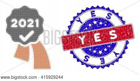 Dot Halftone 2021 Approve Award Icon, And Yes Unclean Watermark. Yes Watermark Uses Bicolor Rosette