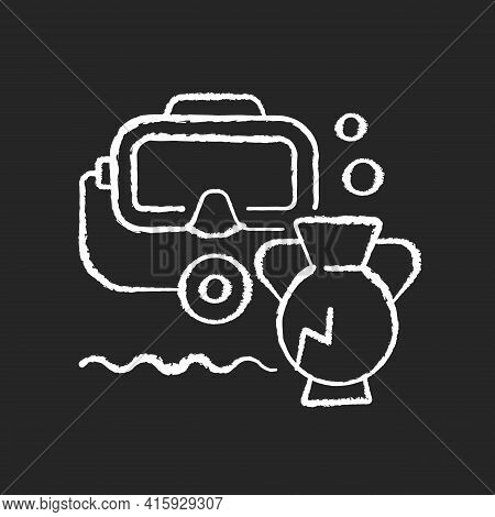 Underwater Archaeology Chalk White Icon On Black Background. Archaeology Practiced Underwater. Acces